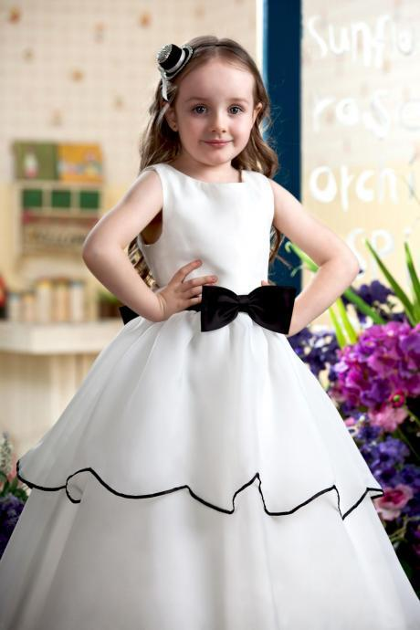 Flower Girl Dress, Hot Sale Lovely Flower Girl Dress, Girl's Dress With Bow, First Communion Dresses for Girls