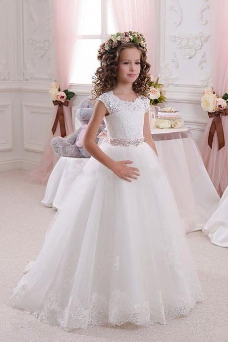 Flower Girl Dress, Lace Tulle Appliques Flower Girl Dress, Girl's Dress With Belt