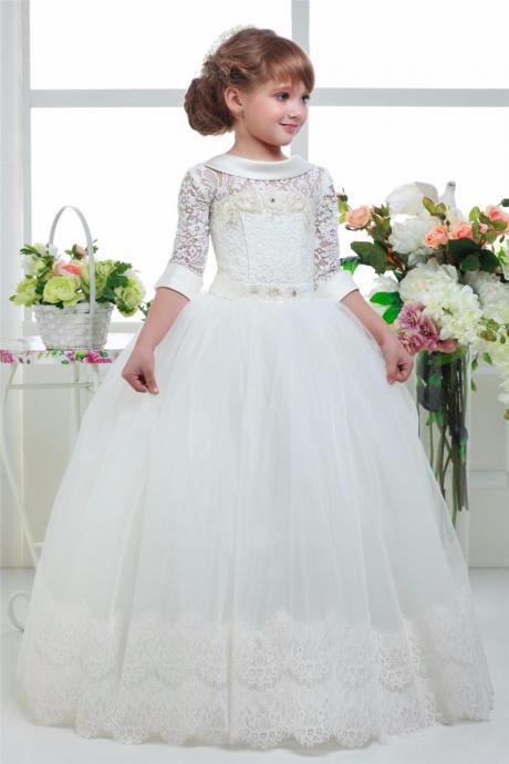 2016 Three Quater Sleeves Special Occasion Gown Flower Girl Dresses Girls Pageant Dresses First Communion Dresses Holy Dresses