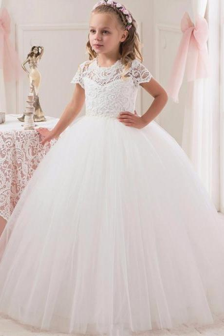 Lovely White Lace Flower Girls Dresses Ball Gown Appliques Beaded Wedding Girl Wear First Communion Dress for Girl Vestidos de