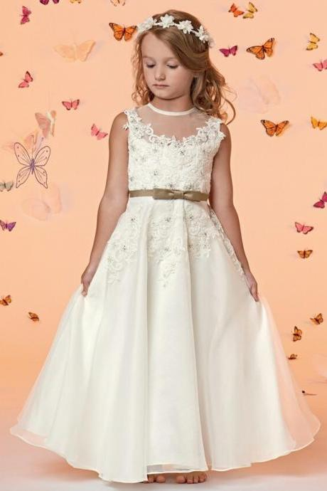 Lovely Fashion White Chiffon A Line Flower Girl Dresses for Weddings First Communion Dresses For Girls vestido de daminha