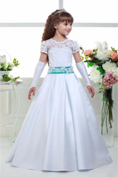 top quality white lace flower girl dresses 2016 for weddings short sleeve sashes pageant ball gowns for girls communion dresses