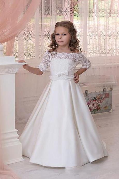 New Arrival High Quality 2 Pieces Lace Appliques A Line Flower Girl Dress Floor Length Custom Made Girl's Party Gowns